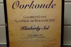 Kimberly genomineerd voor sporttalent 2012